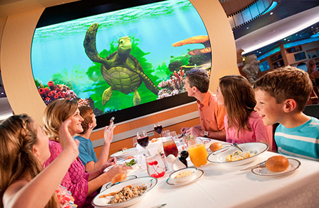 family in Disney cruise ship restaurant